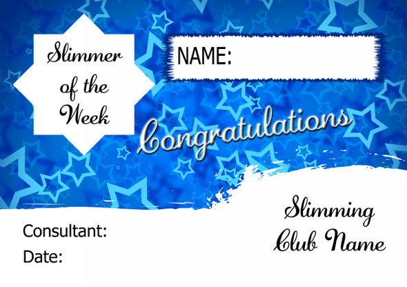 Blue Stars Slimmer Of The Month Personalised Diet Certificate