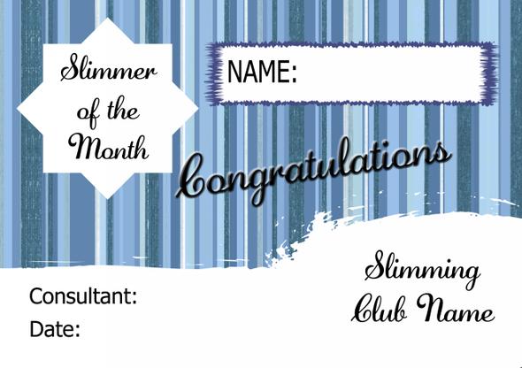 Blue Stars Slimmer Of The Week Personalised Diet Certificate