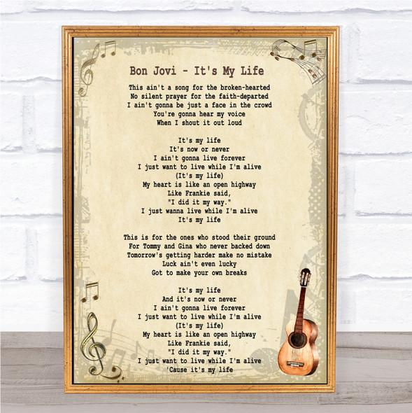 Bon Jovi It's My Life Song Lyric Quote Print