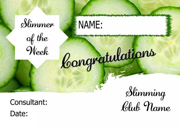 Cucumber Slimmer Of The Month Personalised Diet Certificate