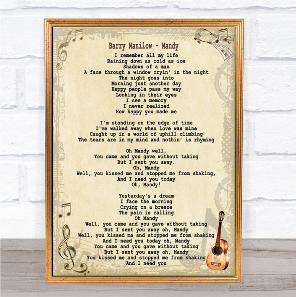 Barry Manilow Mandy Song Lyric Quote Print