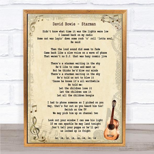 David Bowie Starman Song Lyric Quote Print