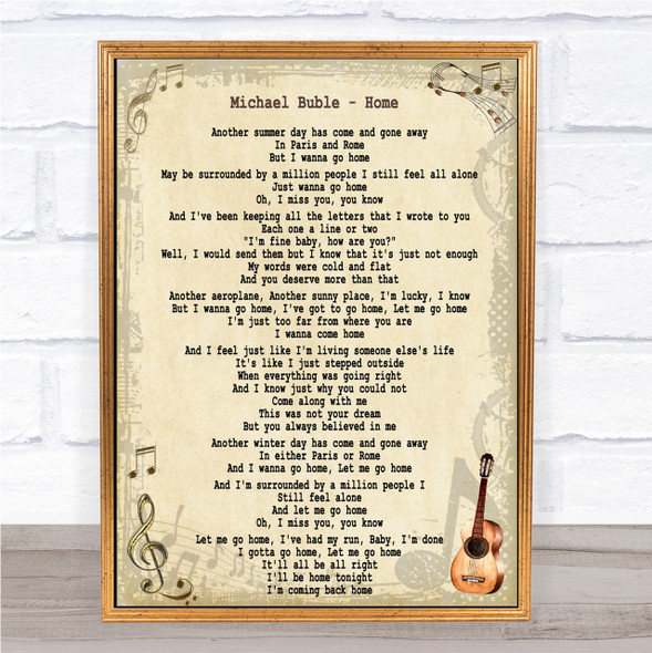 Michael Buble Home Song Lyric Quote Print