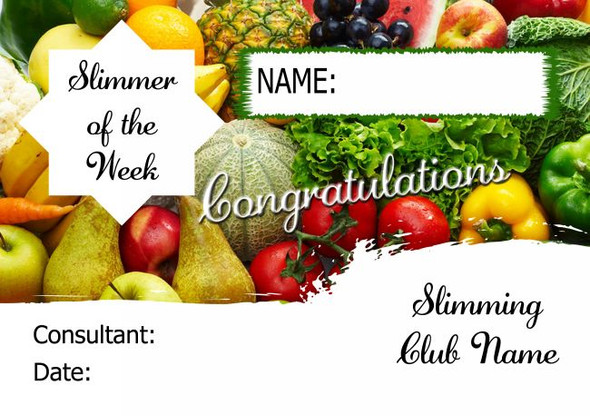 Fruit And Veg Slimmer Of The Month Personalised Diet Certificate