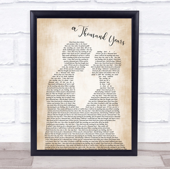 Christina Perri A Thousand Years Song Lyric Man Lady Bride Groom Wedding Print