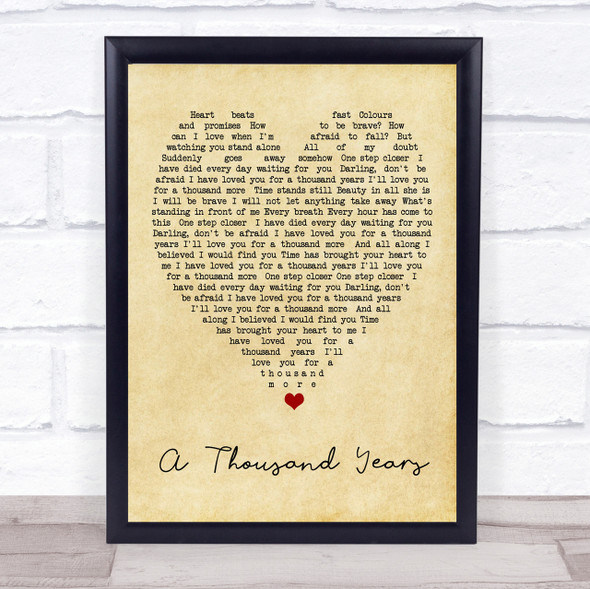 A Thousand Years Christina Perri Vintage Heart Quote Song Lyric Print