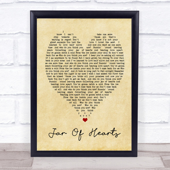 Jar Of Hearts Christina Perri Vintage Heart Quote Song Lyric Print