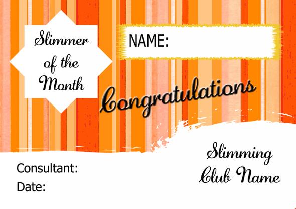 Orange Stars Slimmer Of The Week Personalised Diet Certificate