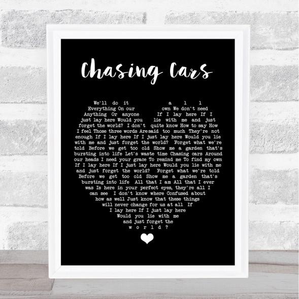 Chasing Cars Snow Patrol Black Heart Quote Song Lyric Print