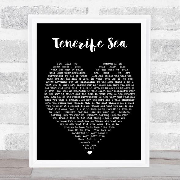 Tenerife Sea Ed Sheeran Black Heart Quote Song Lyric Print