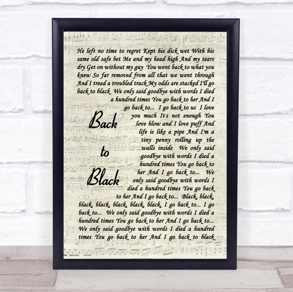 Back To Black Amy Winehouse Script Quote Song Lyric Print