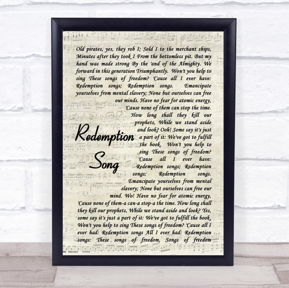 Redemption Song Bob Marley Script Quote Song Lyric Print