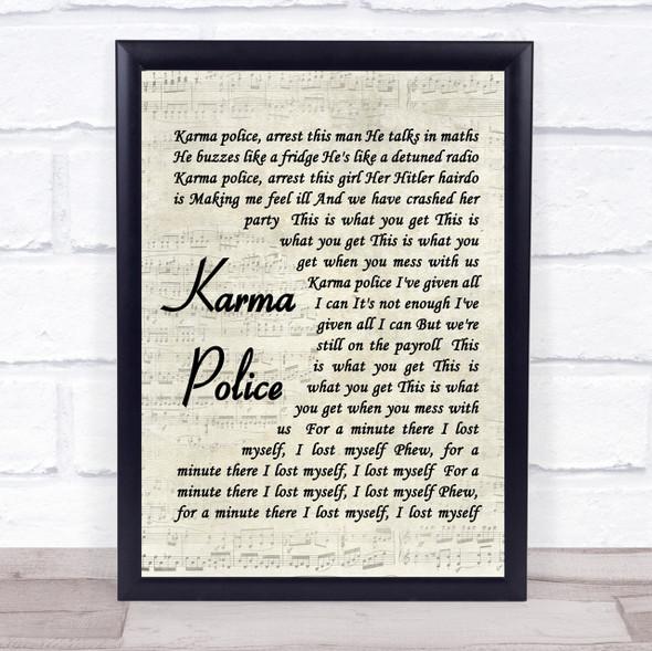 Karma Police Radiohead Script Quote Song Lyric Print