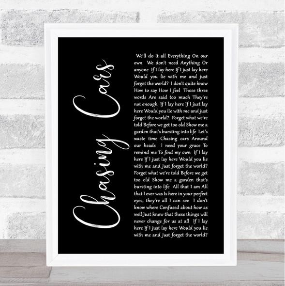 Snow Patrol Chasing Cars Black Script Song Lyric Quote Print