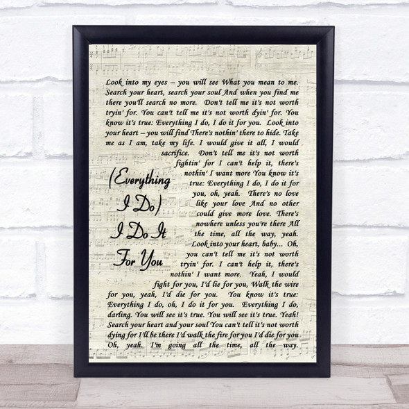 Bryan Adams (Everything I Do) I Do It For You Quote Song Lyric Print