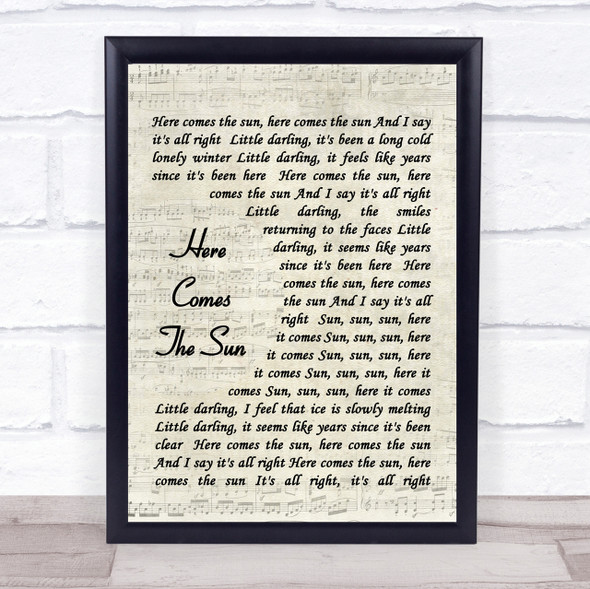 The Beatles Here Comes The Sun Quote Song Lyric Print