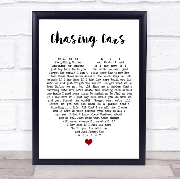 Chasing Cars Snow Patrol Quote Song Lyric Heart Print