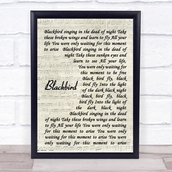 The Beatles Blackbird Quote Song Lyric Print