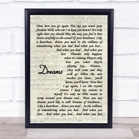 Fleetwood Mac Dreams Quote Song Lyric Print