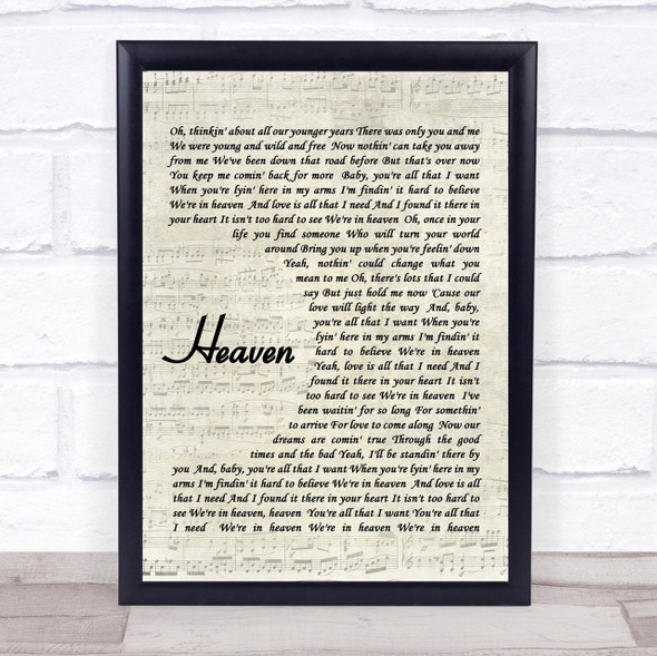 Bryan Adams Heaven Quote Song Lyric Print