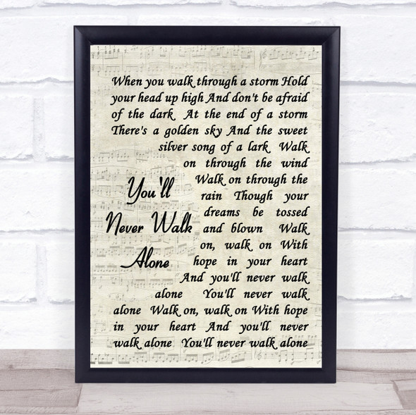 You'll Never Walk Alone Gerry And The Pacemakers Song Lyric Vintage Script Print