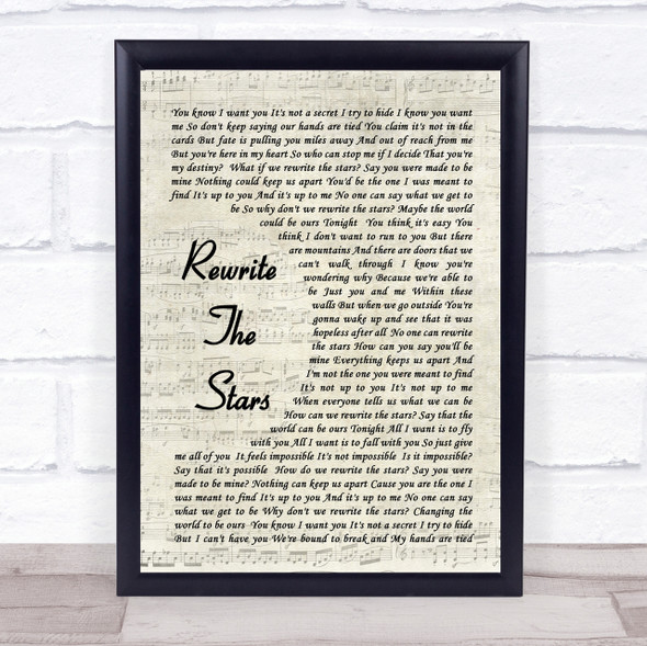 Rewrite The Stars The Greatest Showman Song Lyric Vintage Script Quote Print