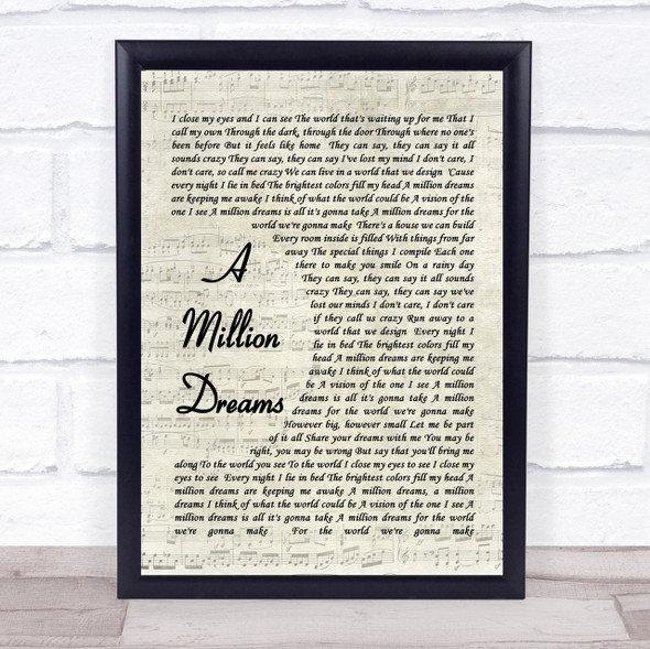 A Million Dreams The Greatest Showman Song Lyric Vintage Script Quote Print