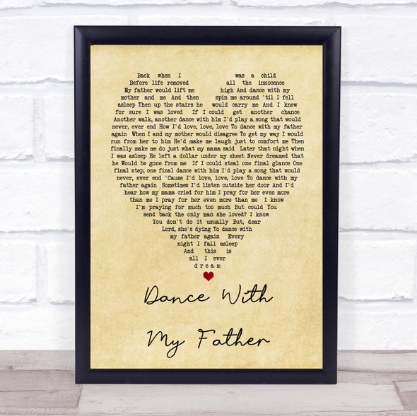 Dance With My Father Luther Vandross Vintage Heart Song Lyric Quote Print
