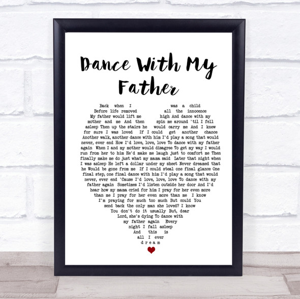 Dance With My Father Luther Vandross Heart Song Lyric Quote Print