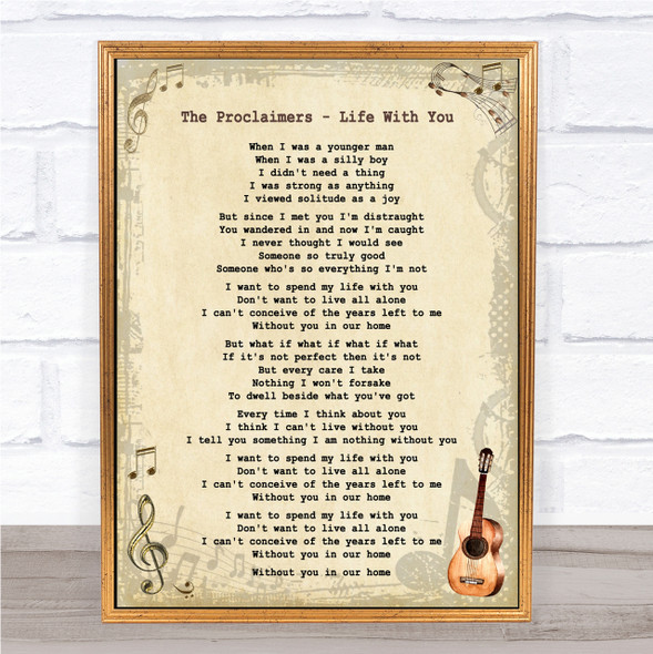 The Proclaimers - Life With You Song Lyric Guitar Quote Print