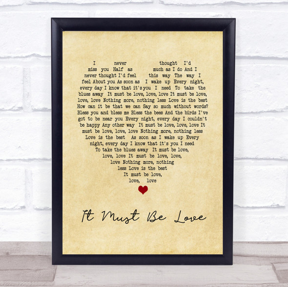 It Must Be Love Madness Vintage Heart Song Lyric Quote Print