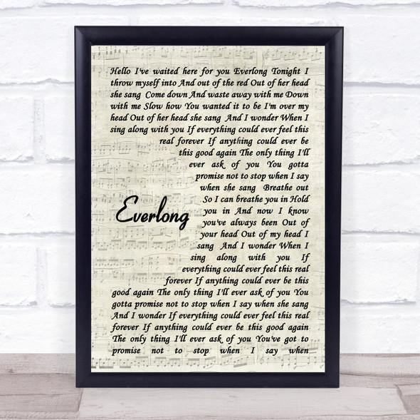 Everlong Foo Fighters Song Lyric Vintage Script Quote Print