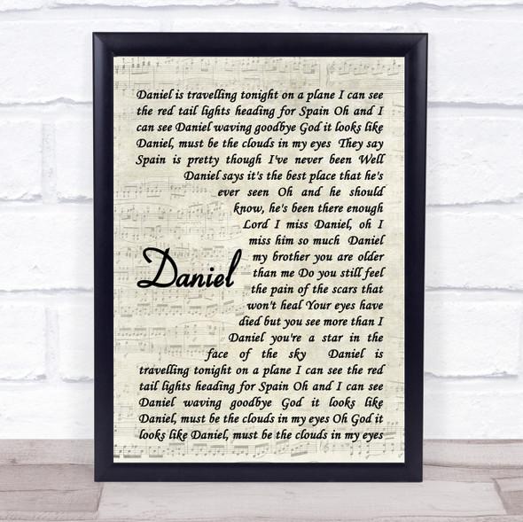 Daniel Elton John Song Lyric Vintage Script Quote Print