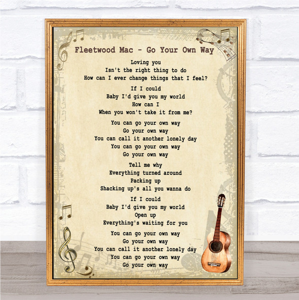 Fleetwood Mac Go Your Own Way Song Lyric Vintage Quote Print