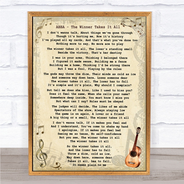 ABBA The Winner Takes It All Song Lyric Vintage Quote Print