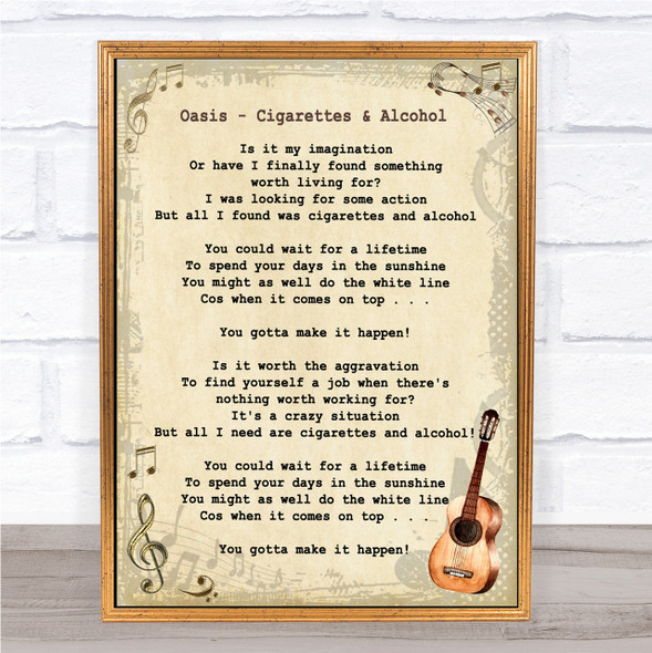Oasis Cigarettes & Alcohol Song Lyric Vintage Quote Print
