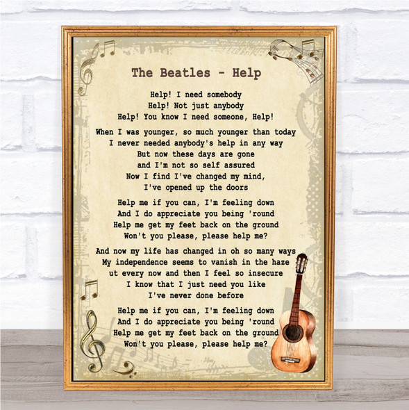 The Beatles Help Song Lyric Vintage Quote Print
