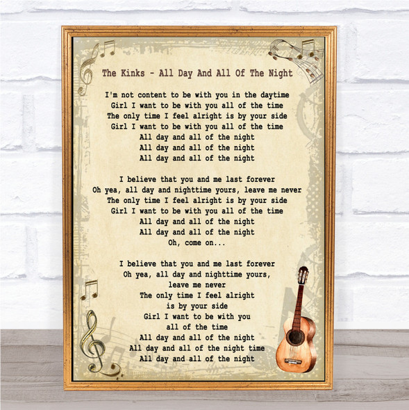 The Kinks All Day And All Of The Night Song Lyric Vintage Quote Print