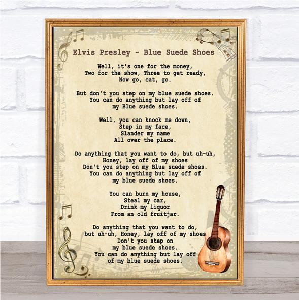 Elvis Presley Blue Suede Shoes Song Lyric Vintage Quote Print