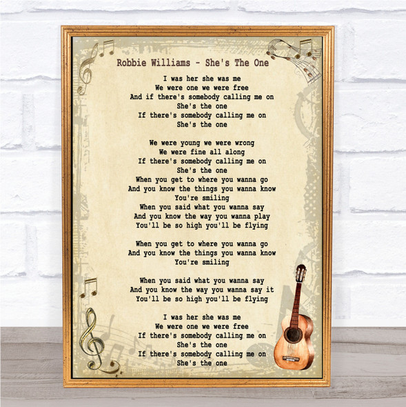 Robbie Williams She's The One Song Lyric Vintage Quote Print