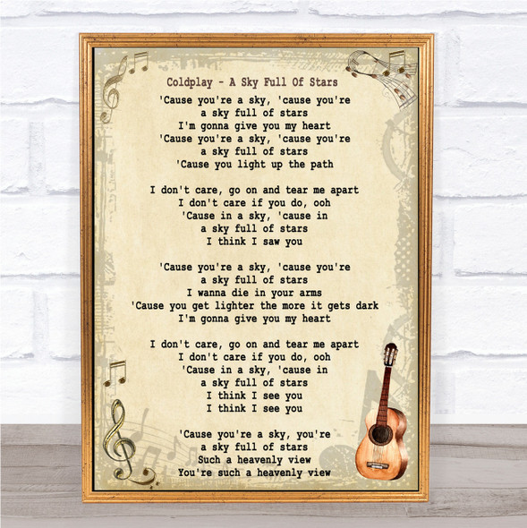 Coldplay A Sky Full Of Stars Song Lyric Vintage Quote Print