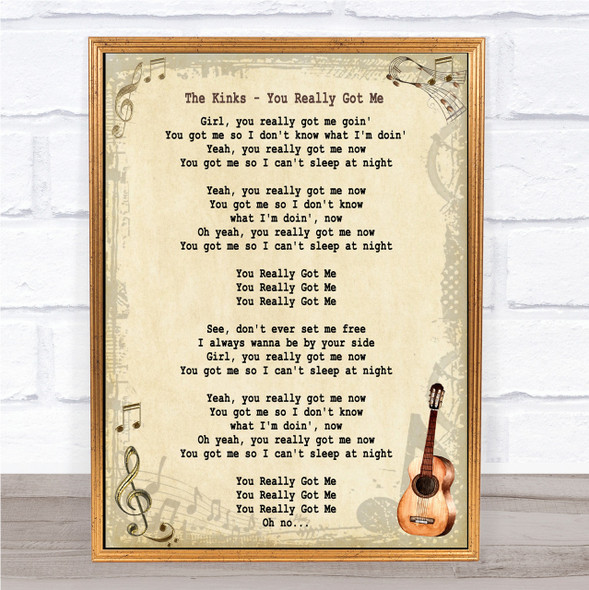 The Kinks You Really Got Me Song Lyric Vintage Quote Print