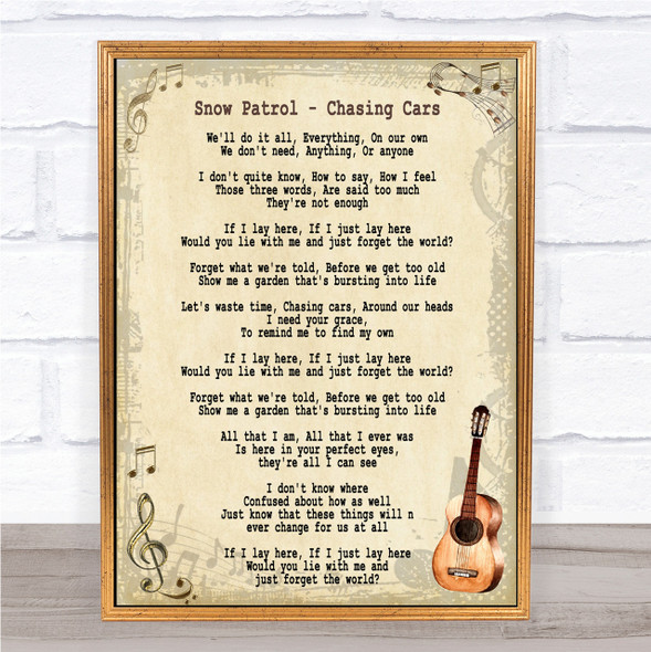 Snow Patrol Chasing Cars Song Lyric Vintage Quote Print