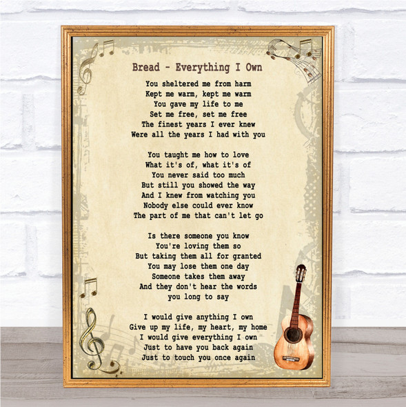 Bread Everything I Own Song Lyric Vintage Quote Print