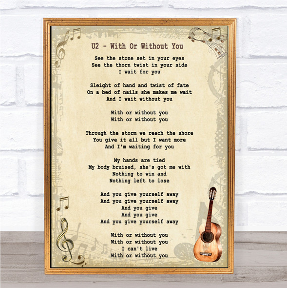 U2 With Or Without You Song Lyric Vintage Quote Print