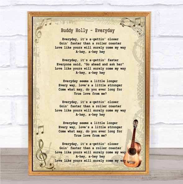 Buddy Holly Everyday Song Lyric Vintage Quote Print