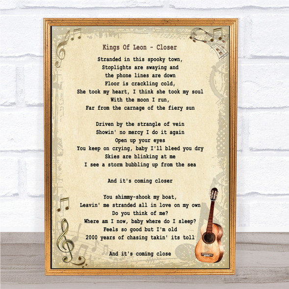 Kings Of Leon Closer Song Lyric Vintage Quote Print
