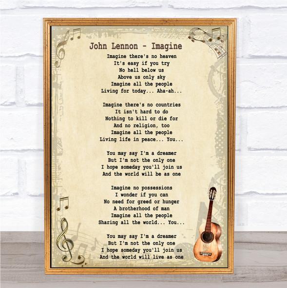 John Lennon Imagine Song Lyric Vintage Quote Print