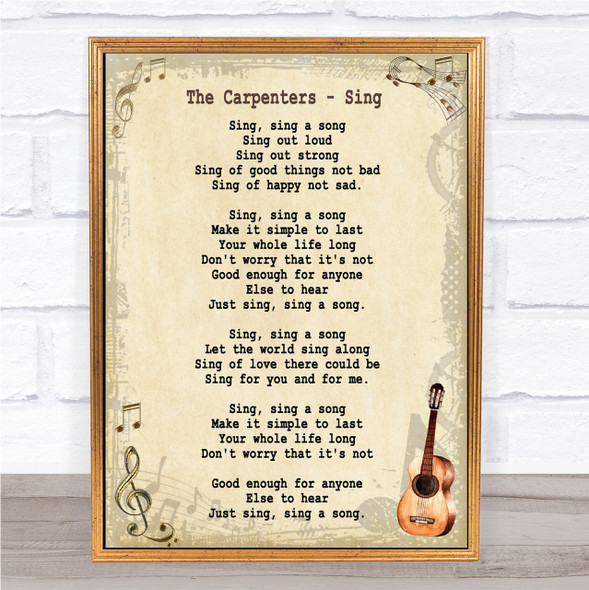 The Carpenters Sing Song Lyric Vintage Quote Print