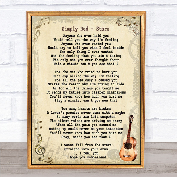 Simply Red Stars Song Lyric Vintage Quote Print
